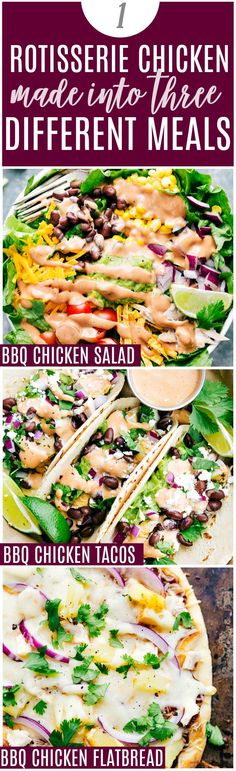 3 EASY Dinner Recipes to make with ONE Rotisserie Chicken. BBQ Chicken Salad BBQ Chicken Tacos and BBQ Chicken Flatbread. Video tutorial and free printable shopping list! Family-friendly easy and so delicious! Bbq Chicken Flatbread, Bbq Chicken Salad, Slow Cooking, Cooking Recipes, Healthy Recipes, Healthy Tacos, Lunch Snacks, Lunches, Turkey Recipes