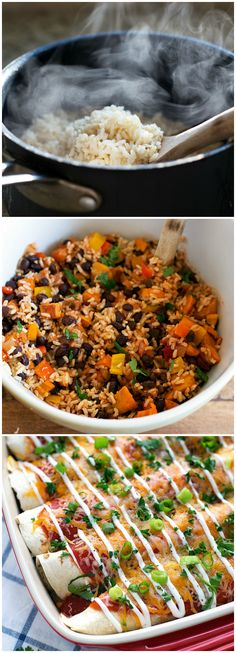 Easy Healthy Sweet Potato and Black Bean Enchiladas #dinner #sweetpotato…