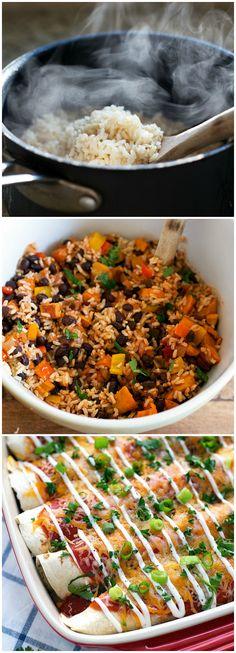 Easy Healthy Sweet Potato and Black Bean Enchiladas #dinner #sweetpotato #enchiladas #vegetarian #easy #recipe #healthy #recipes
