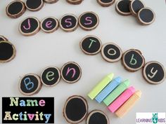 Name activity - write each letter on one chalkboard each and then create your name in the correct order.