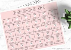 A 30 Day Love Challenge with Printable Calendar - improve your relationships with those you love most in just a few minutes each day! Sweet Love Notes, Love Is Sweet, Love You, Thigh Challenge, Love Challenge, Plank Challenge, Free Printable Quotes, Free Printables, Acts Of Love