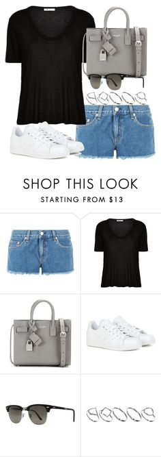 """Style #10300"" by vany-alvarado ❤ liked on Polyvore featuring rag & bone, T By Alexander Wang, Yves Saint Laurent, adidas, Ray-Ban and ASOS"