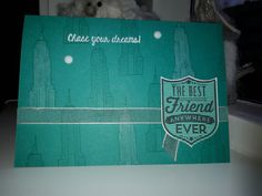 The Empire State Building is one of the lovely images in the Chase Your Dreams Stampset. Love it! Reminds me of my great time in NY :) I stamped it with Bermuda Bay on Bermuda Bay. Some buildings are coloured with the white watercolour pencil. The badge is stamped with a stamp from Badges & Banners. Stampin' Up! by Sandra Kleine ♡