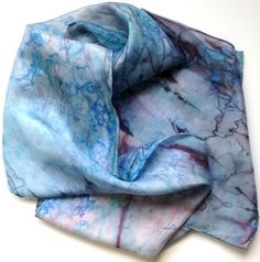 Spring Blue Silk Scarf hand painted colors of by ArtbyEvelynMarie, $28.00