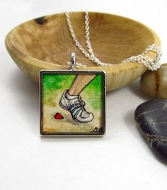 Running Love -- Art Necklace, Silver Hobby Pendant, Watercolor Illustration Print