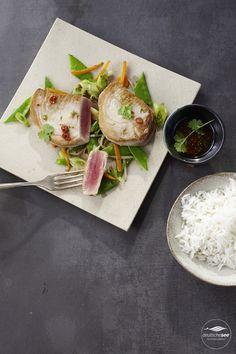 marinierter Thunfisch auf Asia-Gemüse
