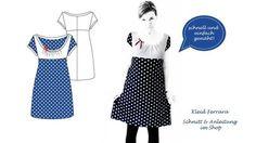 Kleid Ferrara  Kleid Ferrara ist ein schickes Sommerkleid mit kurzen Ärmeln, einem raffinierten Oberteil und Schleife. Das Kleid ist einfach und fix genäht. Die detailreiche Nähanleitung hilft euch bei der Umsetzung.  Ihr könnt euch bei der Material- und Farbzusammenstellung austoben- Hauptsache ihr nehmt Jerseystoffe! Es darf einfach in keinem Reisekoffer fehlen!  NEU: Ferrara gibts jetzt bis zur Größe 54!   Angebotene Größen: 36-54  BITTE PDF (ANLEITUNG) UND ZIP (SCHNITTMUSTER)…