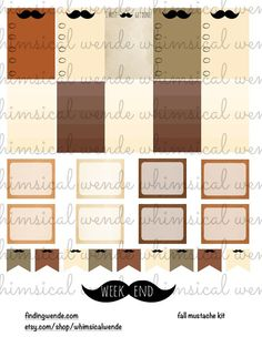 Friday Freebie! Fall Mustache Planner Stickers Kit - Finding Wende