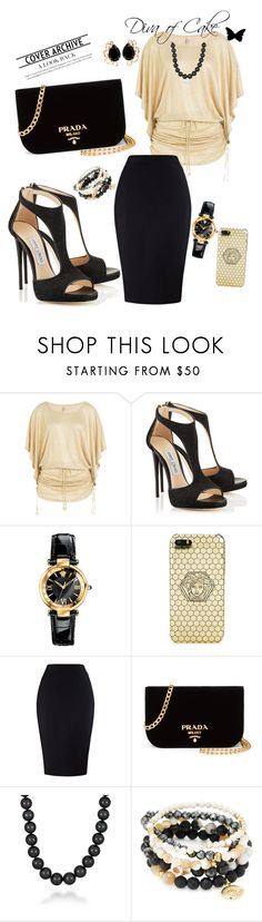 """""""Meeting outfit"""" by Diva of Cake on Polyvore featuring Luli Fama, Versace, Prada, Mikimoto, Good Charma and Bounkit"""
