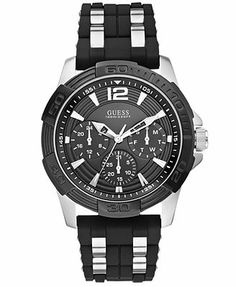 GUESS Men's Black Silicone and Stainless Steel Bracelet Watch 43mm U0366G1