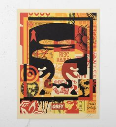 """Entitled """"Obey 3 face collage"""" ( this offset print by Shepard Fairey (Obey) is an open edition. Signed by the artist. Format : 18 x 24 inches x 61 cm). Shepard Fairey Artwork, Shepard Fairey Obey, Face Collage, Collage Art, Collages, Institute Of Contemporary Art, Toned Paper, Silk Screen Printing, Street Artists"""