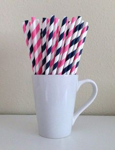 25 Navy Blue and Pink and White Striped Paper Party Straws and DIY Printable Drink Flags / Wedding / Birthday / Baby Shower