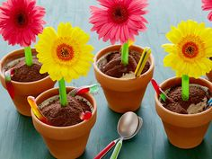 Even better: Fake flower (paper or silk) connected to the spoon, so it is like a spoon flower.   An idea for the kids at Easter: Picture of Ice Cream Flower Pot Desserts Recipe