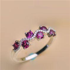 2016 New Graceful Natural Purple Garnet Half Eternity Promise Ring