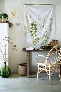 Un herbier végétal imprimé sur du tissu - Marie Claire Idées