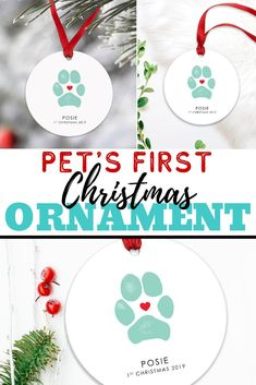 I love this cute paw print Christmas ornament!  Totally pinning this for the holidays.  I can't believe I can use my own dog's paw print to celebrate his first Christmas with us! What a cute way to include our pet in our Christmas decorations. I might just have to get some for my brother's pets also. #pawprintornament #dogsfirstchristmas #petsfirstchristmas #dogchristmasgift #personalizedchristmasgift #christmasornamentdogpaw