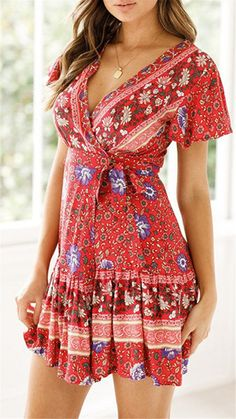 Enjoy exclusive for American Trends Womens Summer Wrap V Neck Bohemian Floral Print Ruffle Swing Beach Mini Dress online - Ilikeoffer White Wrap Dress, Black Dress With Sleeves, Dress Clothes For Women, Summer Dresses For Women, Dress Summer, Spring Dresses, Women's Fashion Dresses, Boho Fashion, Dress Outfits