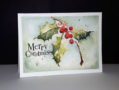 Penny Black Be Merry 2017 Holly Sprig Painted Christmas Cards, Watercolor Christmas Cards, Christmas Drawing, Christmas Paintings, Watercolor Cards, Christmas Art, Handmade Christmas, Penny Black Cards, Penny Black Stamps