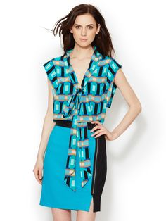 Silk Printed Tie Neck Blouse by Tracy Reese at Gilt