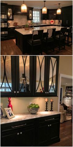Dark Painted Kitchen, Mercury Glass Fronted Doors with Arched Mullions, Light Countertops, Under Cabinet Lighting