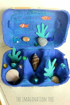 Cool DIY Egg Carton Crafts cool crafts for kids diy - Kids Crafts Beach Crafts For Kids, Ocean Crafts, Toddler Crafts, Diy For Kids, Recycled Crafts For Kids, Beach Kids, Ocean Themed Crafts, Shell Crafts Kids, Whale Crafts