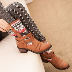 Women's Bohemian Vintage Distressed Stacked Mid Calf Boots