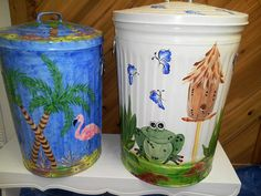 Hand Painted Galvanized Cans - 20 Gallon and 30 Gallon krystasinthepointe - ETSY