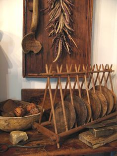 Primitive...with old breadboards...from The Old Shed - Antiques and Primitives - Russiaville Indiana 765-883-8323. | Pinterest | Primitives Plate racks ... & Primitive...with old breadboards...from The Old Shed - Antiques and ...