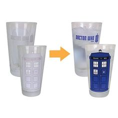 Doctor Who Color-Changing TARDIS 16 oz. Glass Set of 2 - Bif Bang Pow! - Doctor Who - Barware at Entertainment Earth. NEED THIS IN MY  LIFE