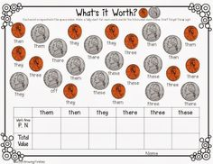 Sight Word Math with Look Alike Words - Coin Counting with mixed coins (pennies, nickels, dimes, quarters)