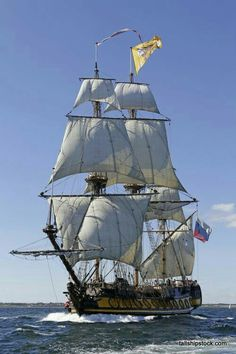 SHTANDART Three Masted Russian Navy 24 Gun Frigate) (Replica) Built in The Original was Built in 1703 and was the First of Russia's Baltic Fleet. Compliment in 1703 was 120 Crewman and in 1999 is 40 Crewman Moby Dick, Bateau Pirate, Old Sailing Ships, Full Sail, Ship Of The Line, Boat Art, Wooden Ship, Sail Away, Set Sail