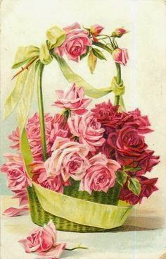 roses, in green basket with green ribbon, many pink and red roses, one rose in front Vintage Rosen, Art Vintage, Vintage Prints, Art Floral, Vintage Greeting Cards, Vintage Postcards, Flower Images, Flower Art, Vintage Pictures