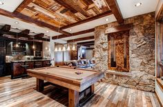 Mountain home can be a really peaceful home and blend with nature well. A mountain home is popular with the wooden material for the home. The wood material can be used for the ceiling, wall, and floor of a mountain home. Billard Design, Rustic Basement, Basement Ideas, Gameroom Ideas, Basement Bars, Basement Kitchen, Basement Designs, Basement Renovations, Billards Room