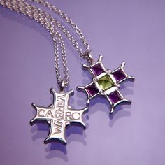 Verbum Caro Cross Sterling Silver Necklace- Inscribed in Latin: And the word was made flesh. Mounted with amethyst and citrine.