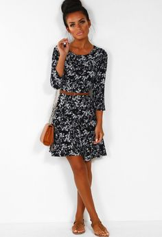 Cute Flirt Black Ditsy Print Mini Dress. Cute Flirt Black Ditsy Print Mini  Dress  dffb84379