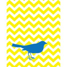 Blue Bird on Yellow Chevron - 8x10 art print ($17) ❤ liked on Polyvore featuring home, home decor, wall art, backgrounds, yellow, fillers, pictures, animals, bird picture and animal wall art