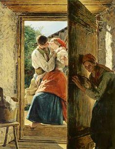 """""""Gli innamorati spiati (il bacio)"""", Ferdinand Georg Waldmüller, (1858)"""