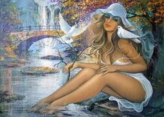 "The woman of the river. - This beautiful girl contemplates the river. She is distracted without realizing that she is the greatest contemplation. - Art by Carlos Vanderlei Pinto. - Board ""Beauty-Carlos V. Pinto"". -"