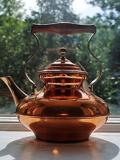 Vintage Italian Bongusto Copper Tea Pot Brass Spout Rosewood Handle in Collectibles, Metalware, Copper