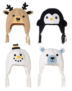 Fleece Kids Hats (1 of 5 Assorted) Reindeer Penguin Snowman Polar Bear
