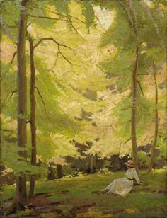 poboh:Girl Resting under the Shade, Garnet Ruskin Wolseley. English (1884 - 1967) - Oil on Canvas -