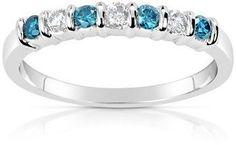 Suzy Levian 14k White Gold .33ct Tdw Blue And White Diamond Anniversary Band Ring.