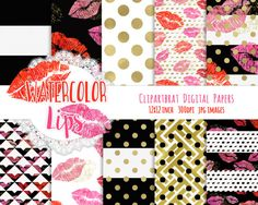 WATERCOLOR LIPS Digital Paper Pack Valentine's Day by ClipArtBrat