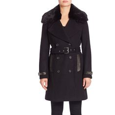 Andrew Marc Trench Coat with Detachable Fur Collar ($278) ❤ liked on Polyvore featuring outerwear, coats, black, apparel & accessories, andrew marc, fur trench coat, double breasted coat, tie belt and andrew marc coats