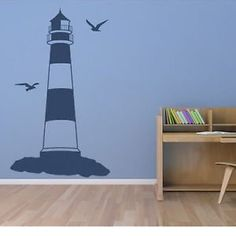 Iconic Stickers - Beach Seaside LIGHTHOUSE Wall Sticker Home Decoration Art Decal Transfer M13 - Mirror Image / Reversed - Size: Small 55cm(H) x 35cm(W) - Colour: Light Blue
