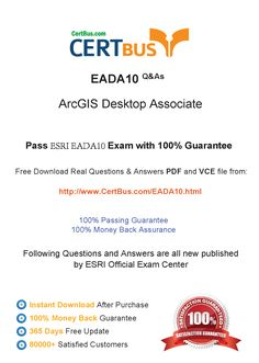 Candidate need to purchase the latest Esri EADA10 Dumps with latest Esri EADA10 Exam Questions. Here is a suggestion for you: Here you can find the latest Esri EADA10 New Questions in their Esri EADA10 PDF, Esri EADA10 VCE and Esri EADA10 braindumps. Their Esri EADA10 exam dumps are with the latest Esri EADA10 exam question. With Esri EADA10 pdf dumps, you will be successful. Highly recommend this Esri EADA10 Practice Test.