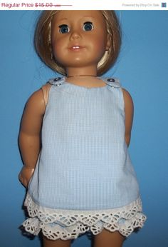 On Sale An American girl blue gingham by Marshasminiatures on Etsy, $12.00