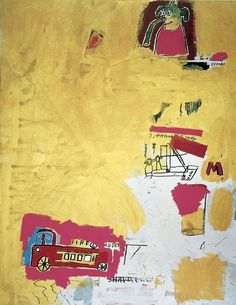 Jean-Michel Basquiat Pink Elephant with Fire Engine, 1984