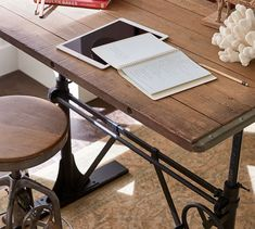 Our adjustable-height desk features an easy-on-the-wrist crank that lets you smoothly raise and lower the desktop to suit your needs. Office Setup, Home Office Decor, Office Desk, Ikea Office, Tiny Spaces, Work Spaces, Office Spaces, Reclaimed Wood Bookcase, Masculine Interior