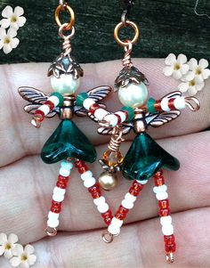 CANDY KANE, Christmas ELF, Christmas Angels, Christmas Fairy, Angel Earrings, Fairy Earrings, Santas Helper, Christmas Jewelry, Gift for Her  ****************************************************************************** Please NOTE: I use ONLY the highest quality components in all of my jewelry. Authentic Czech glass, Swarovski and TierraCast copper-plated pewter components are used in the production of these earrings which will truly stand the test of time. There are MANY sellers out…